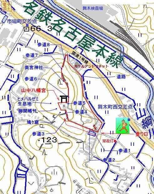 山中八幡宮の地図 492-617