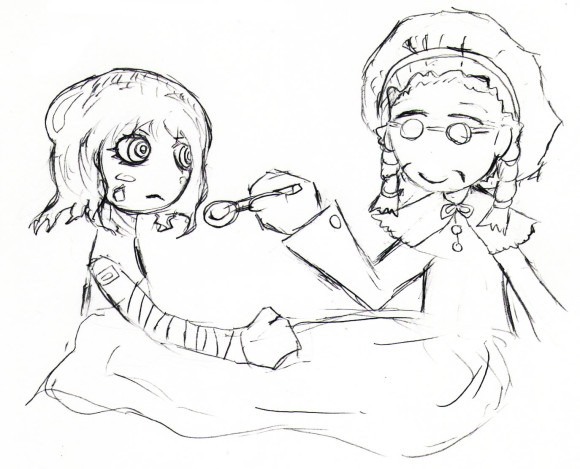 おばあちゃんと女の子のイラスト