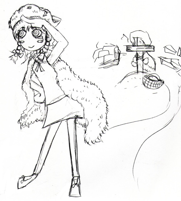 狼の皮を被った女の子のイラスト