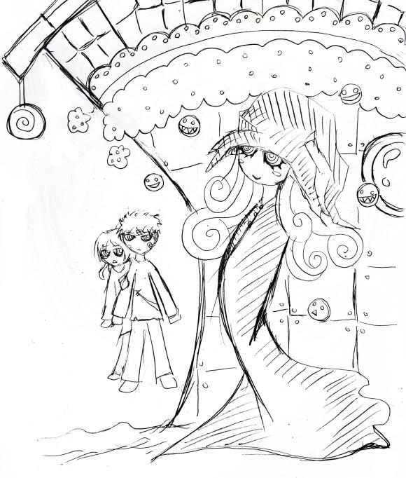 お菓子の家と魔女のイラスト