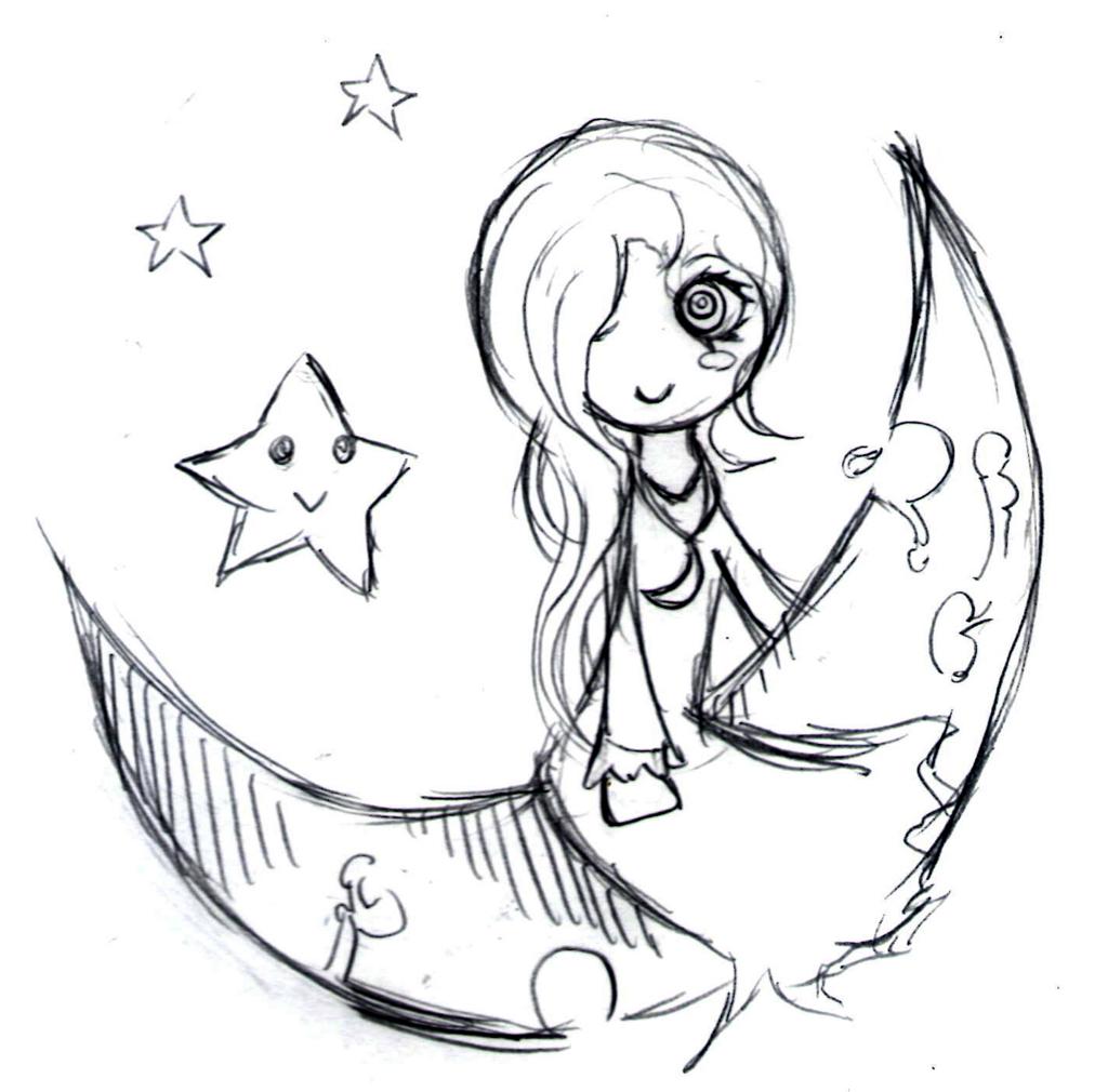 月に乗ってる女の子と星のイラスト