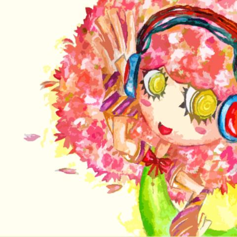 頭が桜の女の子