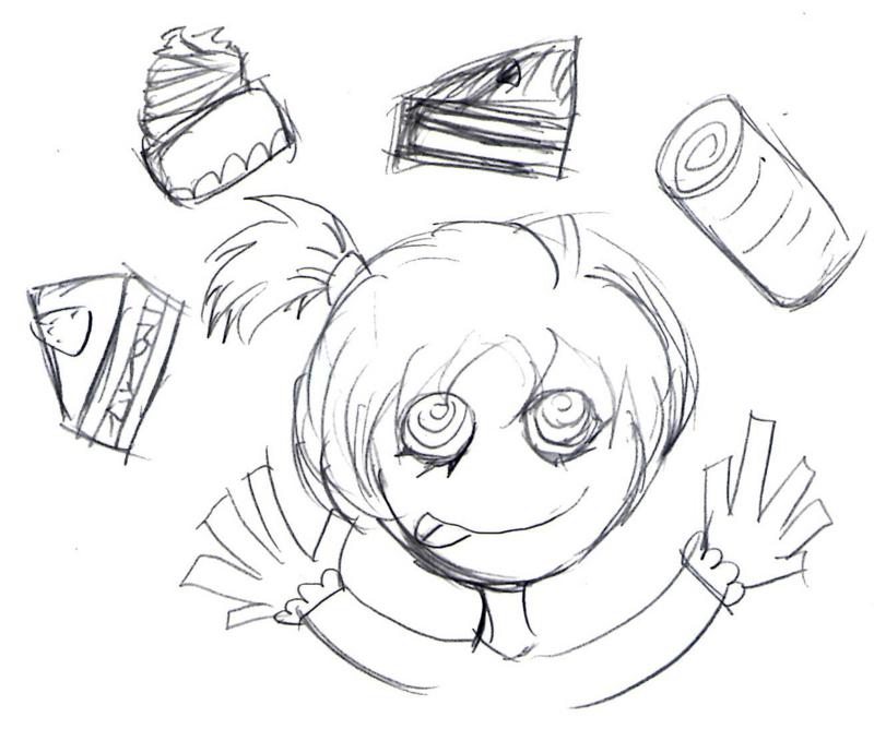 ケーキが好きな女の子のイラスト