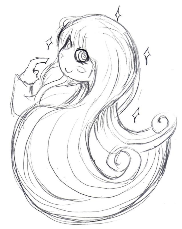 髪の毛が綺麗な女の子のイラスト