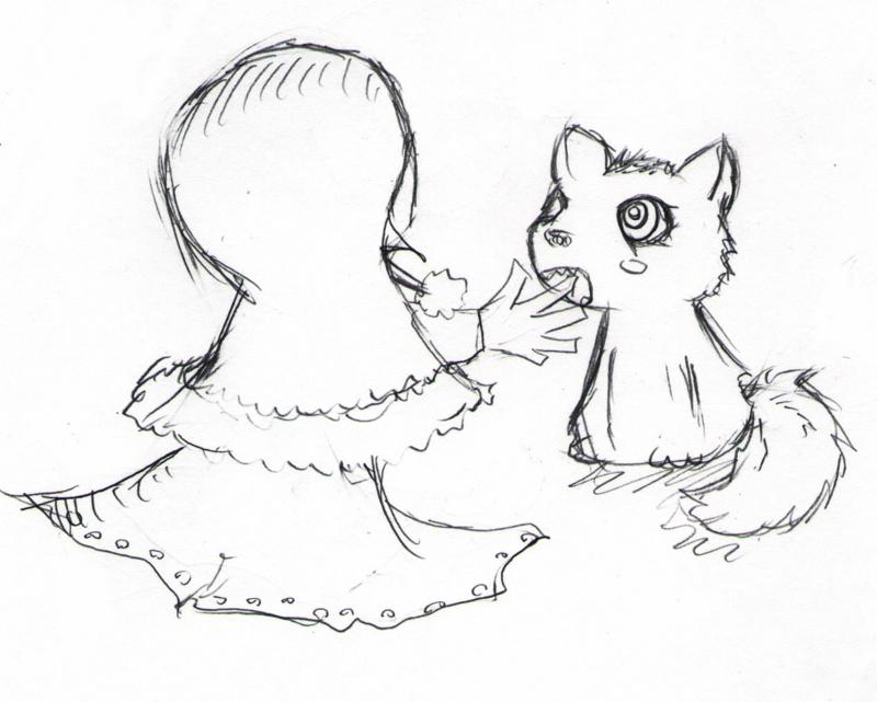 狼と女の子のイラスト