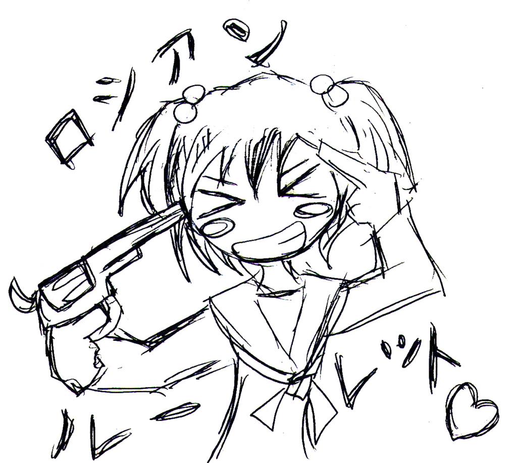 拳銃を自分に向ける少女