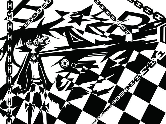 白黒のブラックロックシューターのイラスト