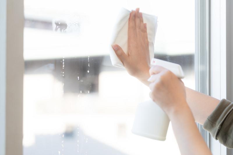 掃除(窓拭き中)