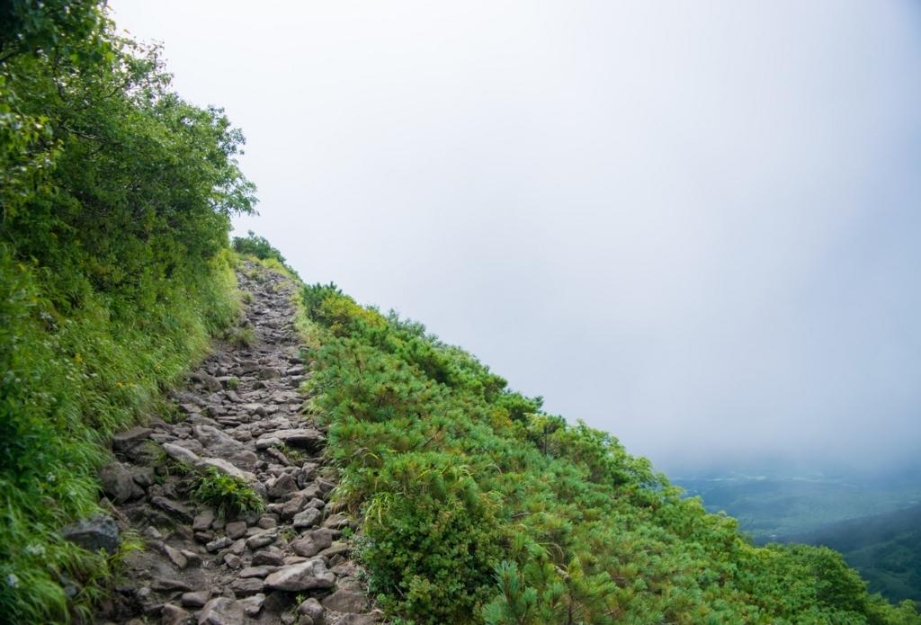 登山道と斜面