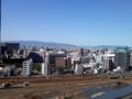 台風一過で快晴の梅田より六甲山方面