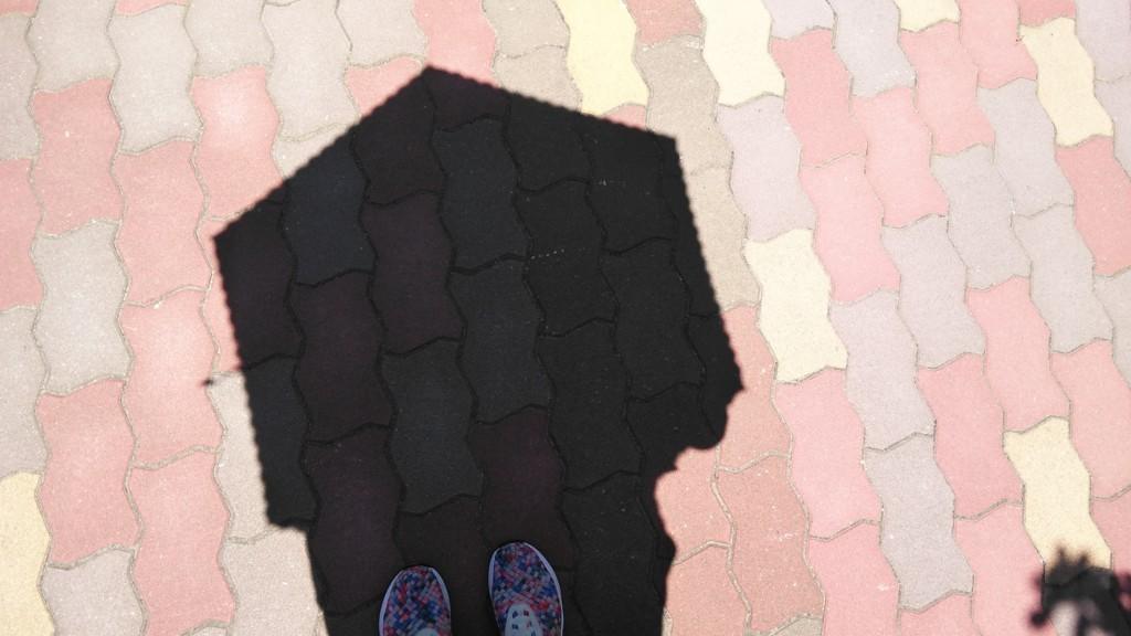 地面に日傘の日陰