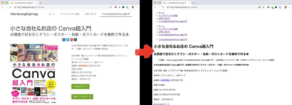 キャプチャー画像:左が通常表示。右がCSSと画像表示を切った表示