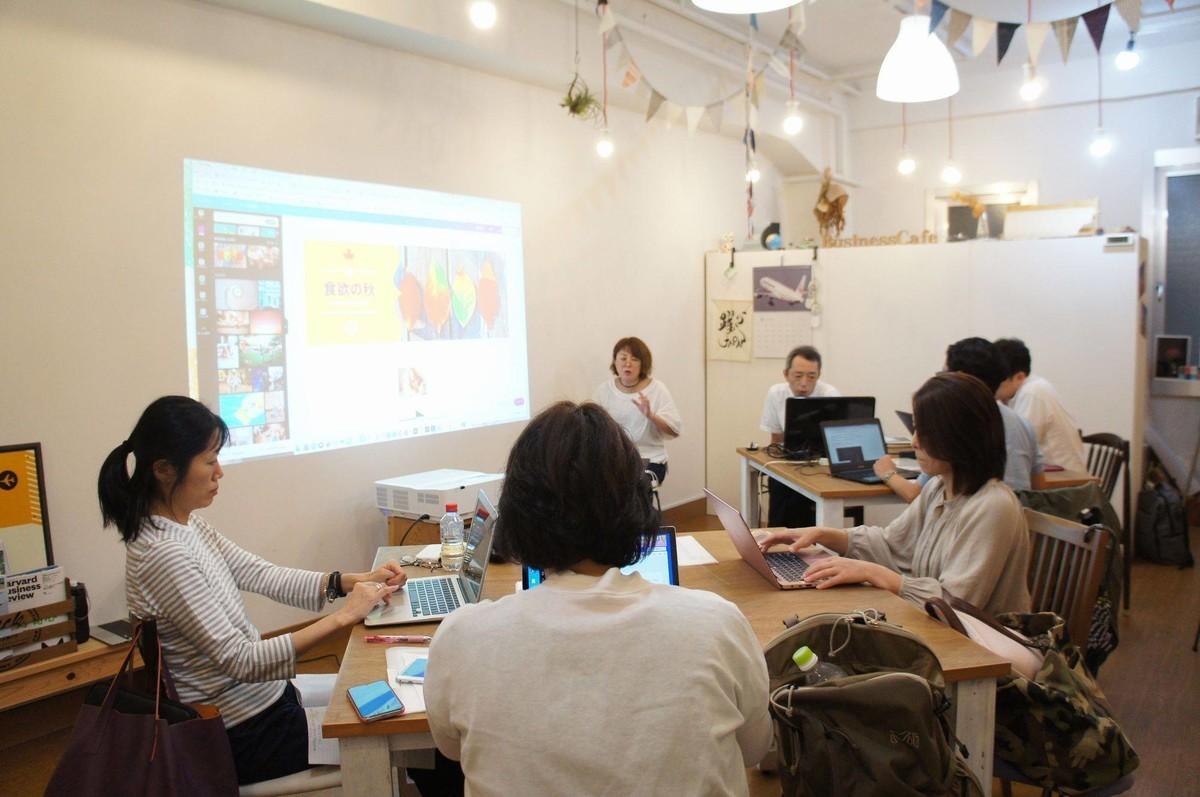 会場風景:正方形のテーブルに各3名がノートパソコンでいろいろ作業をしています