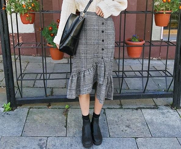 グレンチェックアンバランススカート