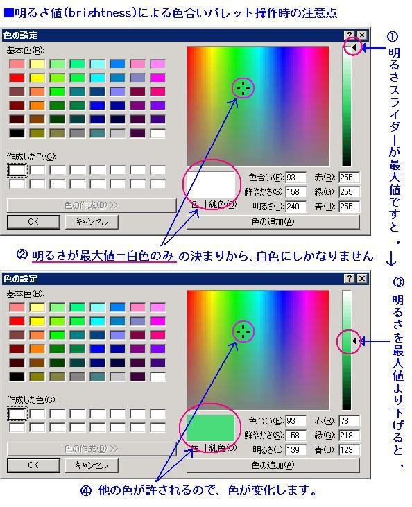 色選択ボックス操作時の注意