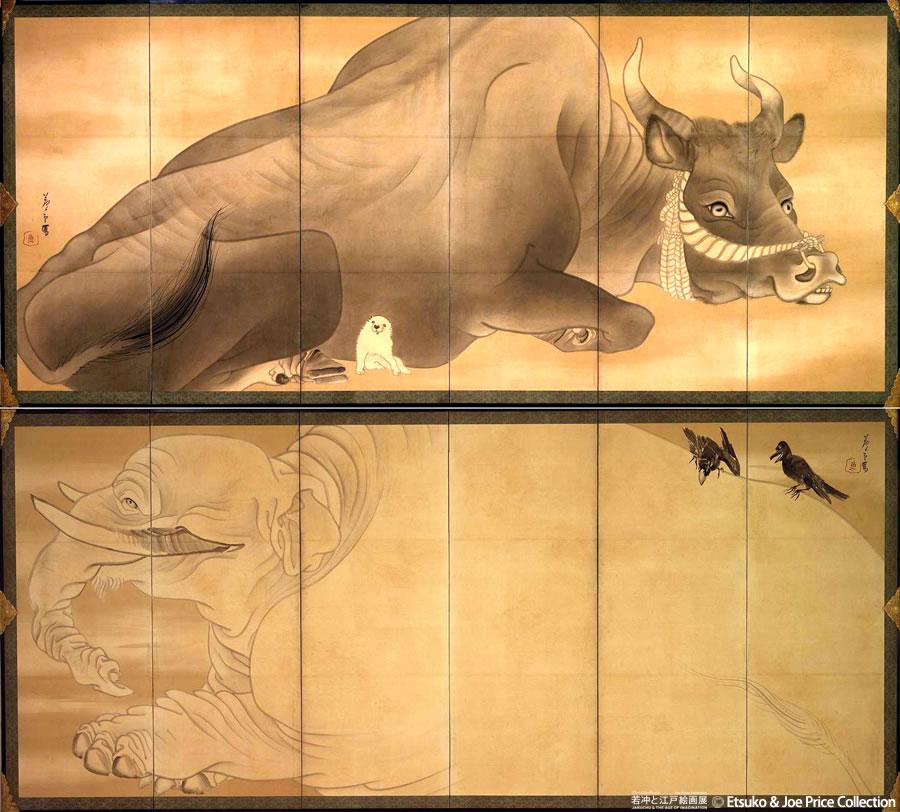 「若冲と江戸絵画」展 公式ブログフォトライフ - 白象黒牛図屏風/長沢芦雪