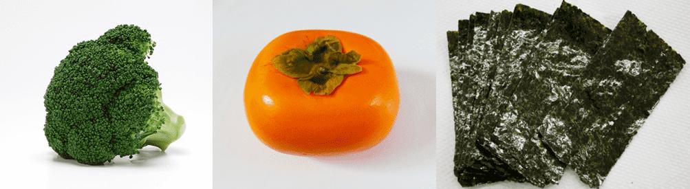 ブロッコリーと柿と海苔の画像
