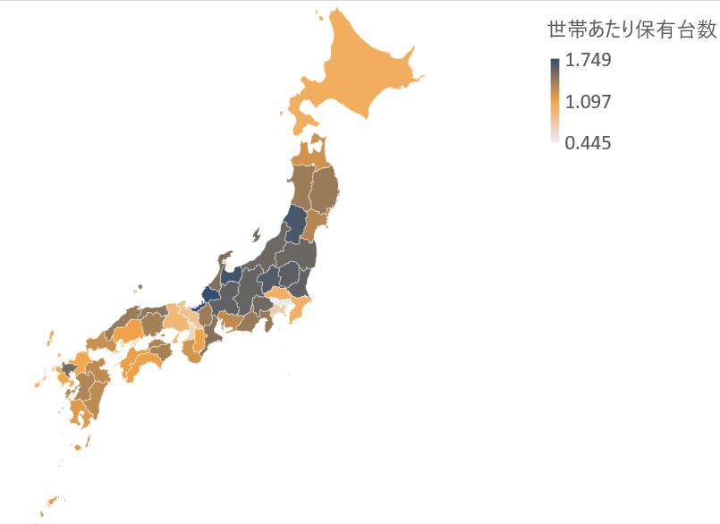 図表 6 都道府県別世帯あたり自家用車保有台数(自動車検査登録情報協会資料より作成。色が濃いほど保有台数が多い)