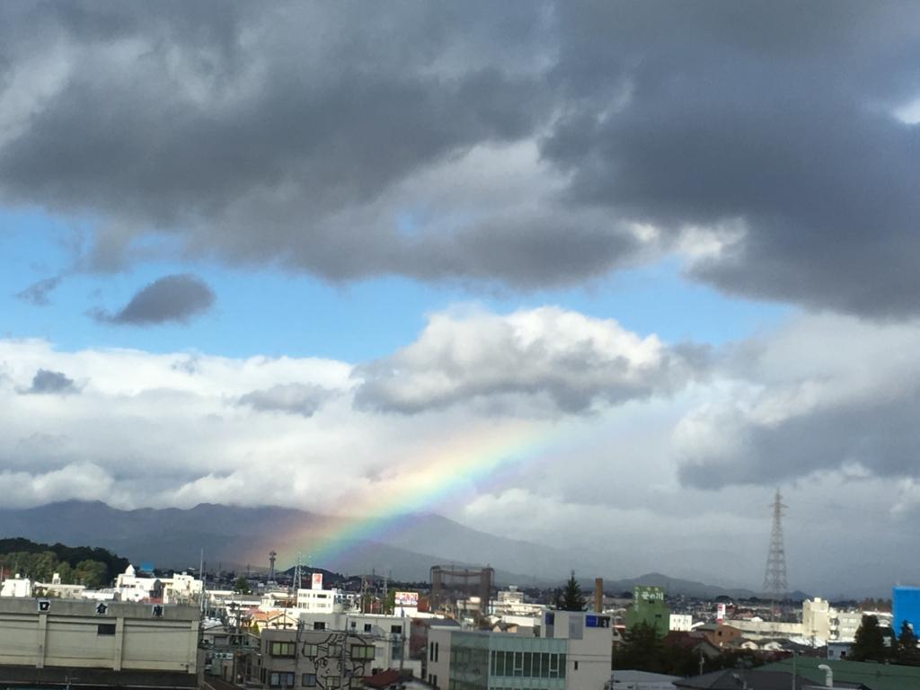 新幹線からの虹