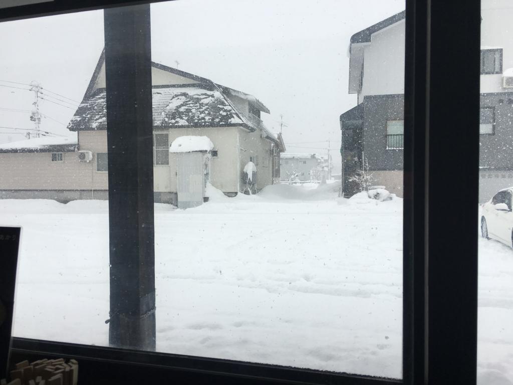 窓の外は雪景色です