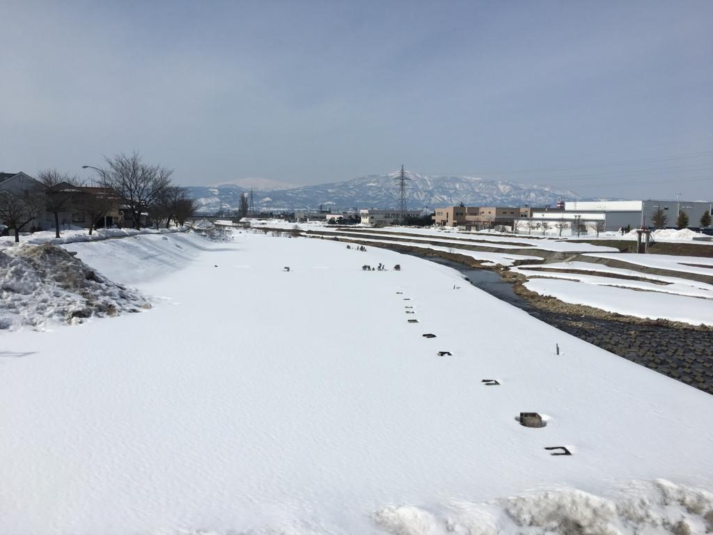 3月1日の野川、雪景色