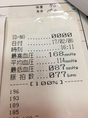 血圧が168/87