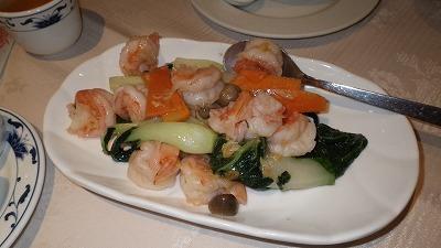 ロンドンの中華料理店のエビ料理、美味しかったです