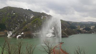 山形県西川町月山湖の大噴水