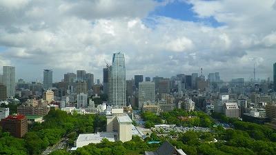 愛宕山グリーンヒルズの眺め。そして遠景に東京スカイツリー