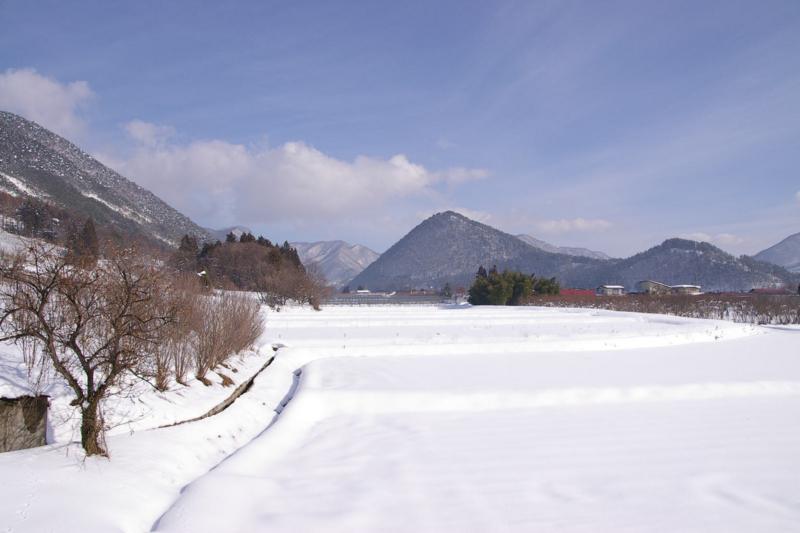 東根市観音寺の雪原、雪景色
