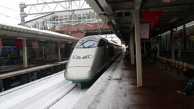 早朝にさくらんぼ東根駅を出発