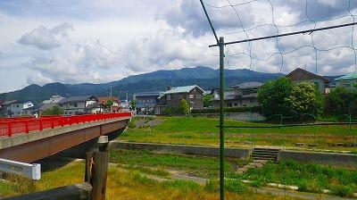 山形市白山の喫茶店からの蔵王眺め、白山川