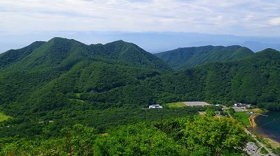 榛名湖の山々の眺め