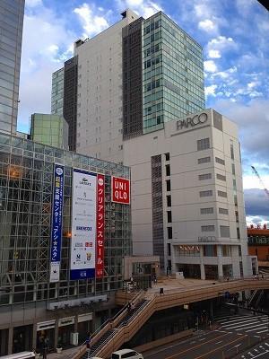 会場から眺める仙台駅前、パルコなど