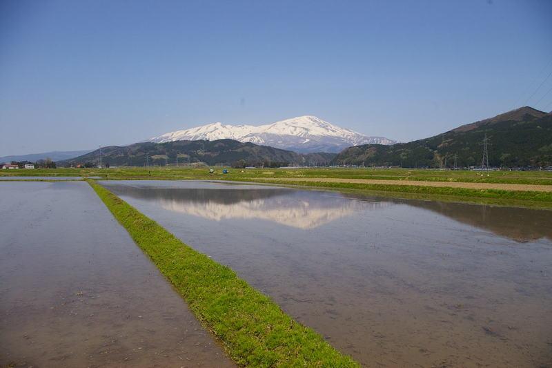 田園に写る鳥海山