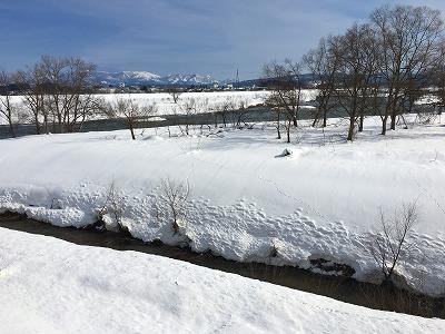 冬の最上川河畔の雪景色