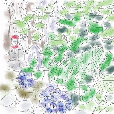 紫陽花とお地蔵さん