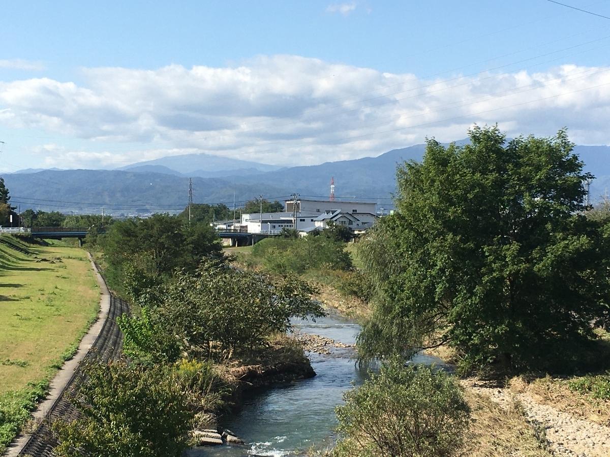 東根市野川から月山と葉山の眺め