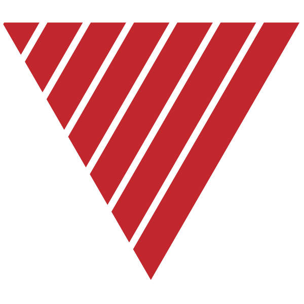 Triangle of red and thin transparent stripes