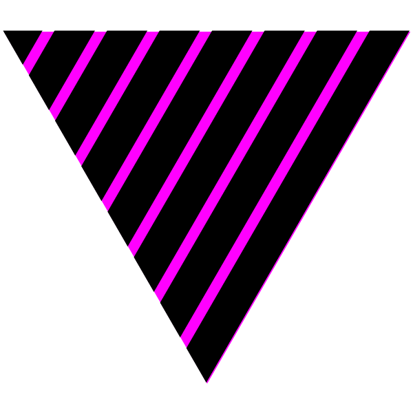 Black and vivid pink striped triangle