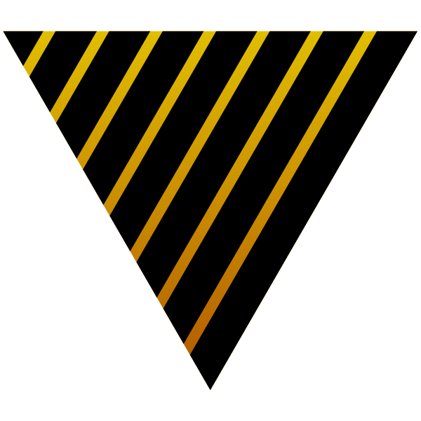 Triangle with gold and black stripes