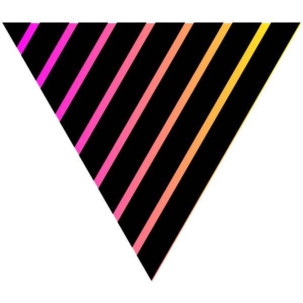 Black and neon colored striped triangle