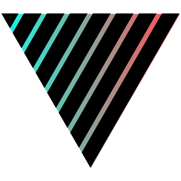 Black and cool colored striped triangle