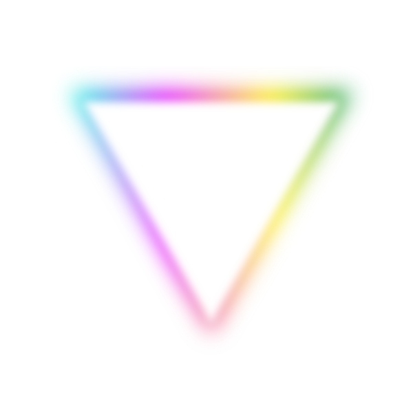 Triangle that emits soft rainbow light
