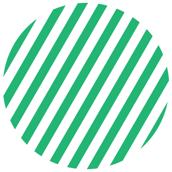 Green and transparent striped circle