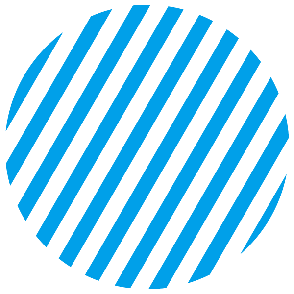 Light blue and transparent striped circle