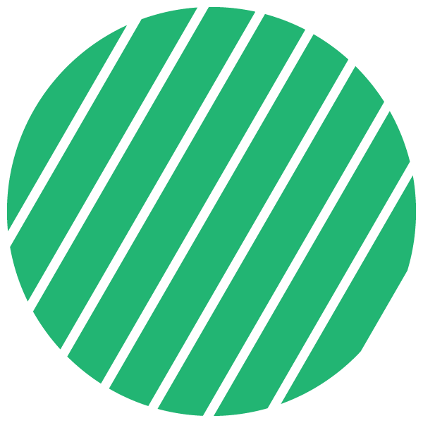 Green and transparent striped circle (Narrow gap)