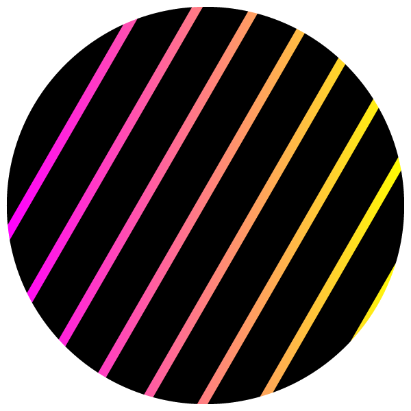Circles of pink and yellow gradient stripes on black
