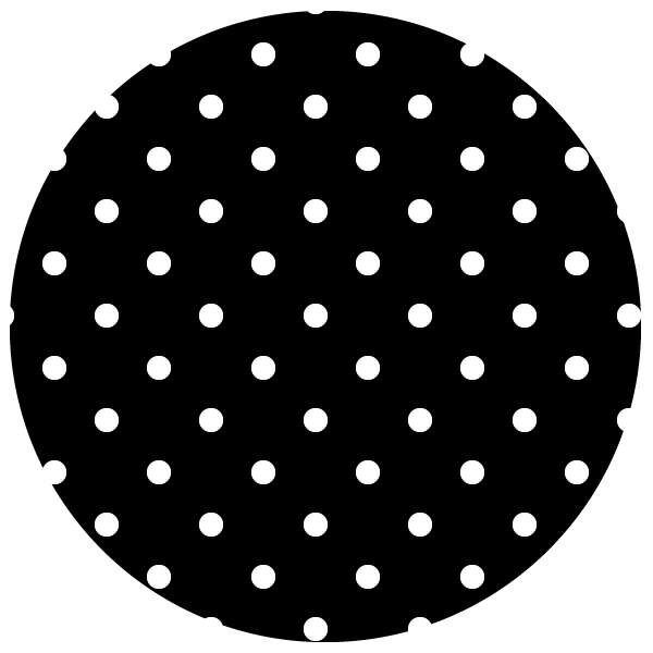 round of white polka dots on black background