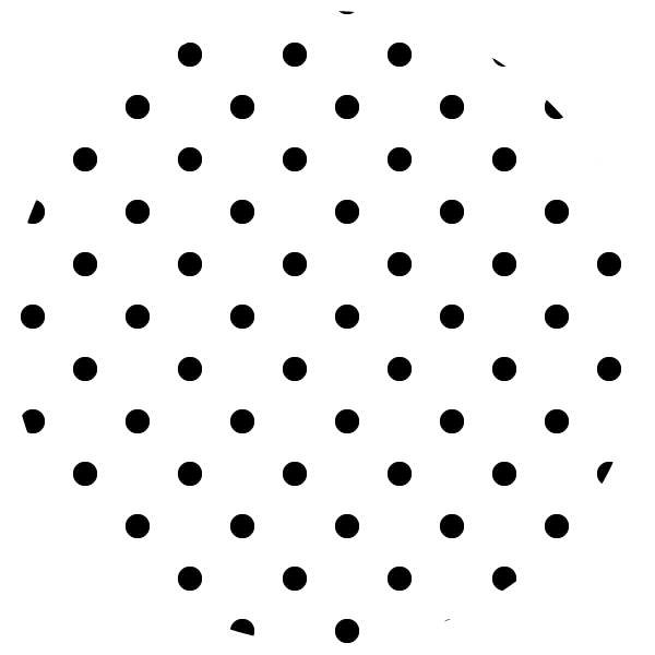 round of black polka dots on white background